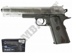 2123-A1 BB Gun Colt 1911 Long Replica Spring Airsoft Pistol 2 Tone Clear Black